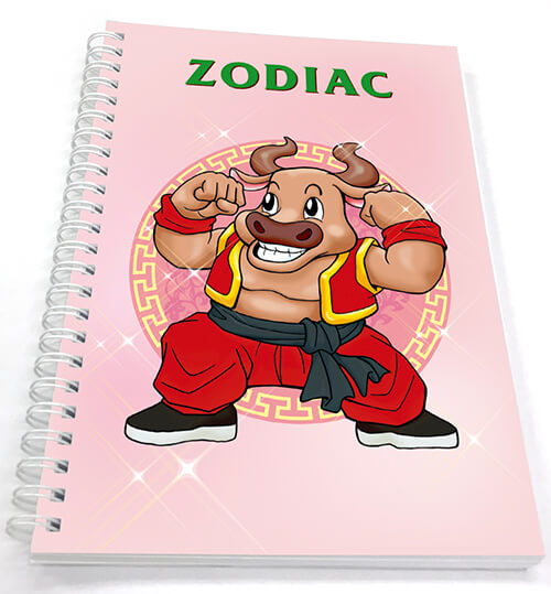 A offset 4C printed notebook with wire binding in Zodiac Cover